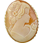 Vintage 14K Gold Shell Cameo Pendant / Brooch