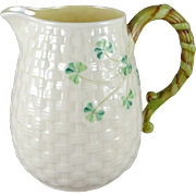 Vintage Belleek Shamrock Basketweave Jug, 2nd Green Mark c. 1955