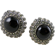 Vintage Sterling Silver Marcasite Onyx Earrings, Judith Jack