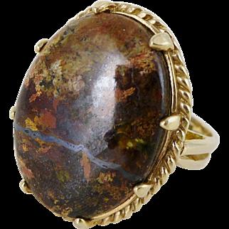 Large Vintage 10K Gold Bronzite Ring, Custom Made