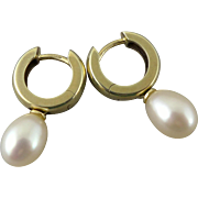 Vintage European 14K Gold Huggie Earrings With Pearl, Signed 585 FB