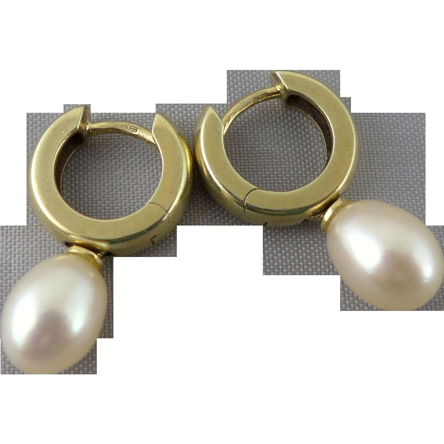 Vintage European 14K Gold Huggie Earrings With Pearl, Signed 585 FB