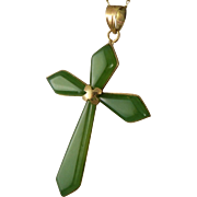 Vintage 14K Gold Chrysoprase Cross Necklace, Religious