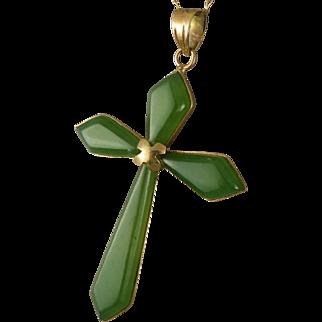 Vintage 14K Gold Chrysoprase Cross Necklace, Religious