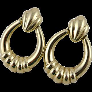 Vintage 14K Gold Ribbed Drop Earrings, Door Knocker Style