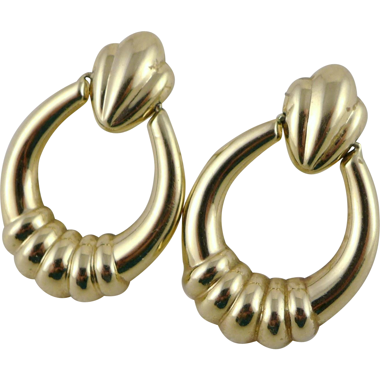 Vintage 14K Gold Ribbed Drop Earrings, Door Knocker Style