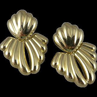 Vintage 14K Gold Doorknocker Ribbed Earrings, Milor