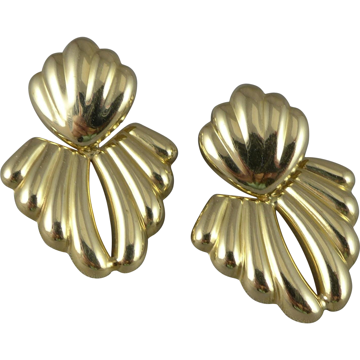 Vintage 14K Gold Doorknocker Ribbed Earrings, Milor