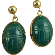 Vintage 14K Gold Chrysoprase Scarab Earrings