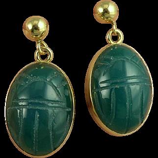 Vintage 14K Gold Chrysoprase Scarab Earrings