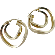 Vintage 14K Gold Earrings, Curved Double Hoops