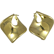 Vintage 14K Gold Square Hoop Earrings, Italy