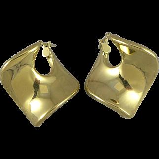 Vintage 14K Gold Square Hoop Earrings, Italy