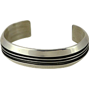 Vintage Navajo Sterling Silver Cuff Bracelet By Tom Hawk