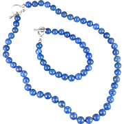 Vintage Lapis Lazuli Necklace And Bracelet Set With Sterling Clasps