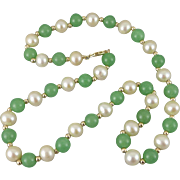Vintage 14K Gold Chrysoprase Pearl Necklace