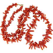 Vintage Oxblood Red Branch Coral Necklace With 14K Gold Accents
