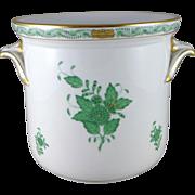 Vintage Herend Green Chinese Bouquet Cachepot Jardiniere