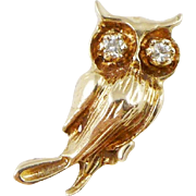 Vintage 14K Gold Diamond Owl Charm