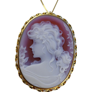 Vintage 18K Gold Carnelian Cameo Pendant Brooch On A 14K Chain Necklace