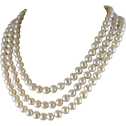 Freshwater Cultured Pearl Necklace, Hand Knotted Triple Strand With Sterling Clasp