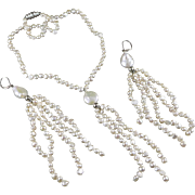 Necklace And Earring Set, Hand Knotted Cultured Freshwater Pearls, Vintage