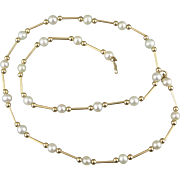 Gold And Pearl Station Necklace, Vintage 14K Tubes And Beads