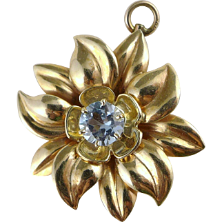 Gold Aquamarine Flower Pendant, Large Heavy 10K Vintage Retro