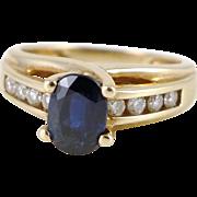 Gold Sapphire Diamond Ring, Vintage 14K