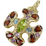 Gold Gemstone Maltese Cross Pendant, Vintage 14K Garnet Amethyst Peridot And Topaz