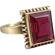 Vintage 10K Gold Synthetic Ruby Ring, Art Deco