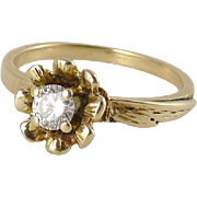 Vintage 14K Gold Diamond Solitaire Ring, Engagement, Flower Setting