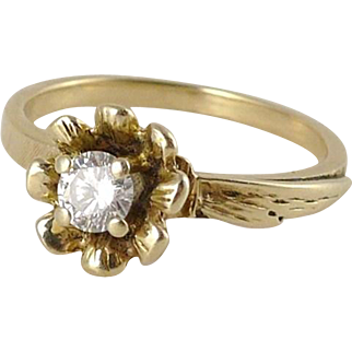 Vintage 14K Gold Diamond Solitaire Ring, Flower Setting
