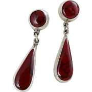 Vintage Sterling Silver Red Jasper Earrings, Dangle Style Made By ATI Mexico