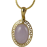 Vintage 14K Gold Lavender Jade Necklace, Enhancer Pendant And Chain