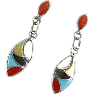 Vintage Sterling Silver Zuni Inlay Earrings By Francis Leekya
