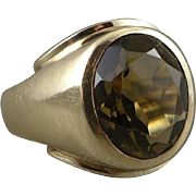 Men's Gold Smoky Quartz Ring, Vintage Mid-Century 10K