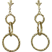 Vintage 14K Gold Triple Hoop Earrings, Circle Drop Earrings