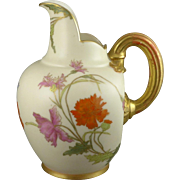 Royal Worcester Hand Painted Pitcher Or Jug, Antique c. 1890