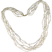 Multi Strand Rice Pearl Necklace, Eight Strands With 14K Gold Clasp And Accent Beads