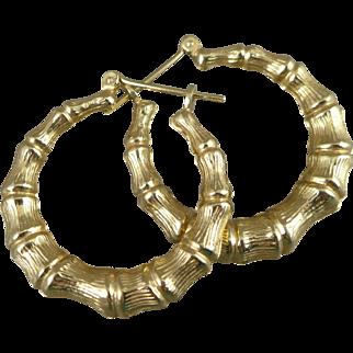 Gold Bamboo Hoop Earrings, Vintage 14K