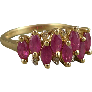 Gold Ruby Ring, Vintage 10K Marquise Stones Accented With Diamonds