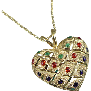 Gold Enameled Heart Necklace,  Vintage 14K Pendant On A Fine Chain