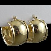 Wide Gold Hoop Earrings, Vintage 14K Huggie Style