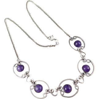Sterling Silver Amethyst Necklace, Vintage Choker Style