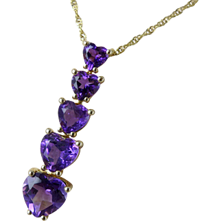 Gold Amethyst Necklace, Vintage 14K Pendant With Heart Shaped Stones
