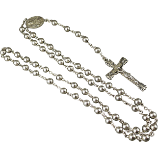 Creed Sterling Silver Rosary, Vintage Round Beads, Religious, Catholic