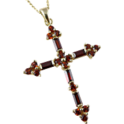 Gold Garnet Cross Necklace, Vintage 14K Religious Pendant Made In Mexico