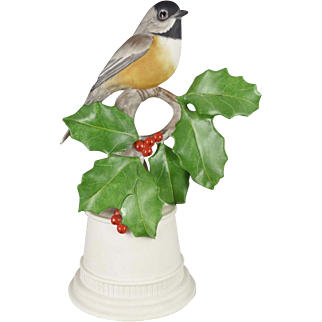 Boehm Porcelain Bird Figurine, Vintage Black Capped Chickadee With Holly Number 438