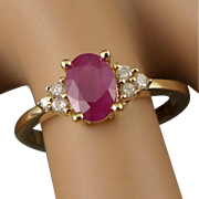 Gold Ruby Diamond Ring, Vintage 14K 585